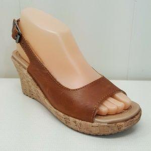 Crocs LEIGH Cork Wedge Sandals Shoes 9 W Open Toe